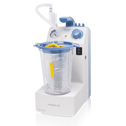 Medela Vario 18 airway suction with disposable system side view